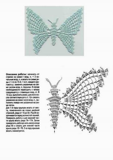 Схемы и описания вязания крючком бабочек, Копилка узоров и, да и вещей, созданных под впечатлением этого чуда и...