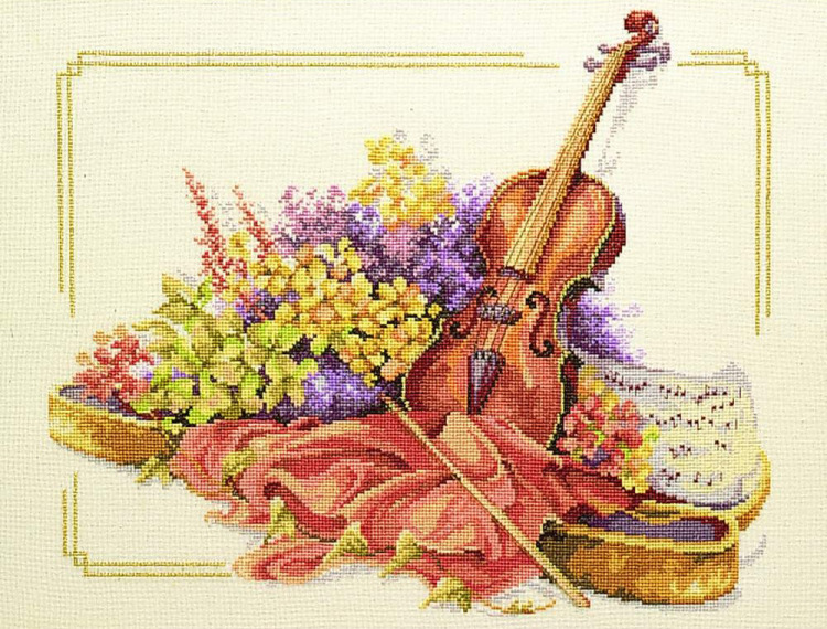 Gallery.ru / Lanarte 34128 Violin with flowers - Продаю наборы - Skandy.