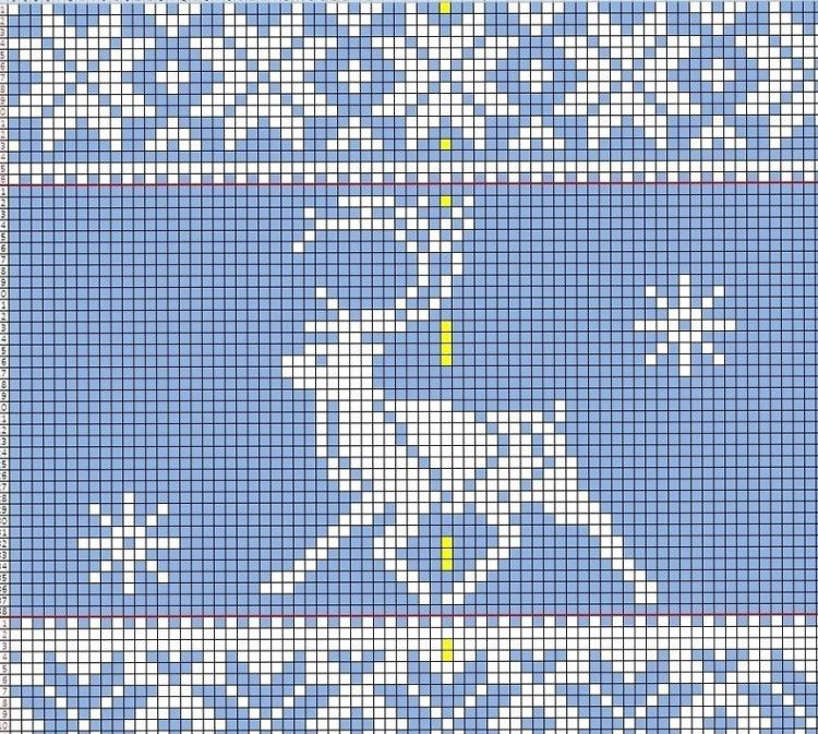 схема и описание свитера с норвежским жаккардом олени. . Размеры: Вышить орнамент 11 с оленями начиная с 5