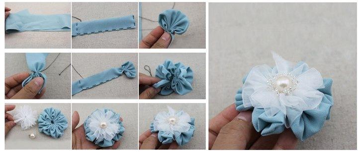 Бант-цветок из ленты своими руками