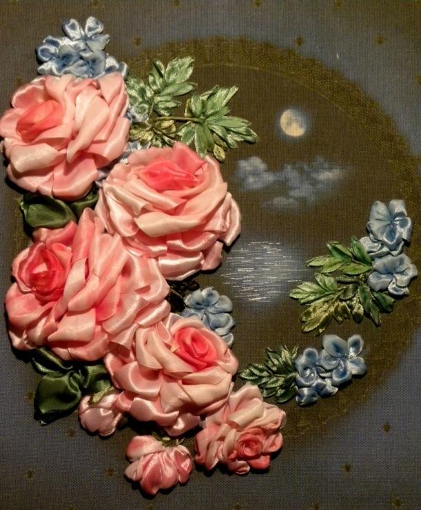 Вышивка лентами розы-мастер класс 92
