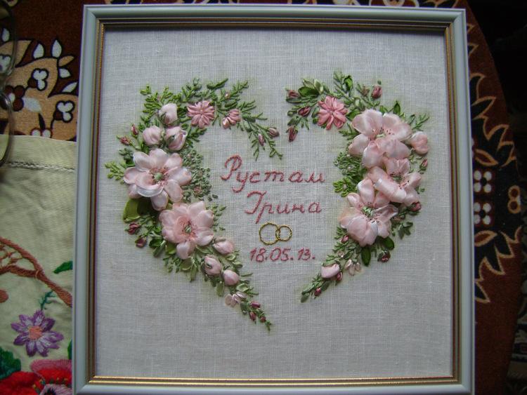 Открытка на свадьбу своими руками с вышивкой 68