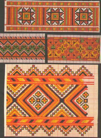 Орнаменты из старинных журналов.Вышивка.  Украинские черно-красные орнаменты.Вышивка.1930.  Kreuzstich-3-1,2...