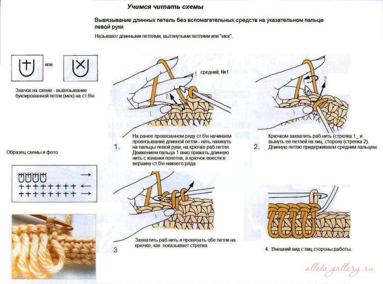 Как связать крючком вытянутые петли для начинающих видео