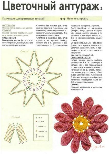 Скачать бесплатно схему вязания крючком цветов для