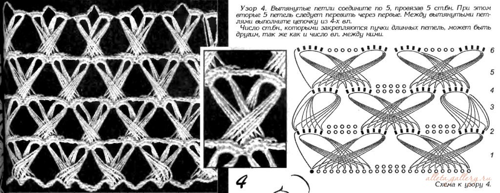 Схемы вязания крючком из вытянутых петель 634