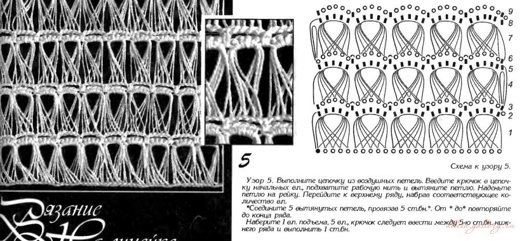 Схемы вязания крючком из вытянутых петель 30