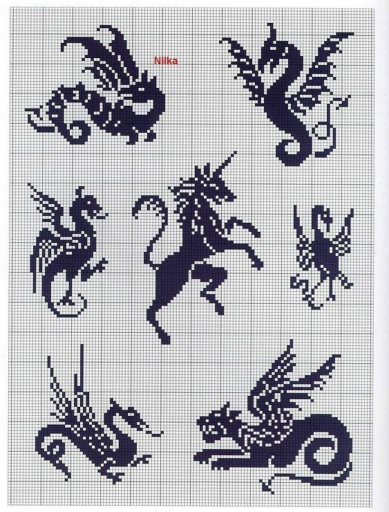Много схем для вышивки драконов бесплатно.