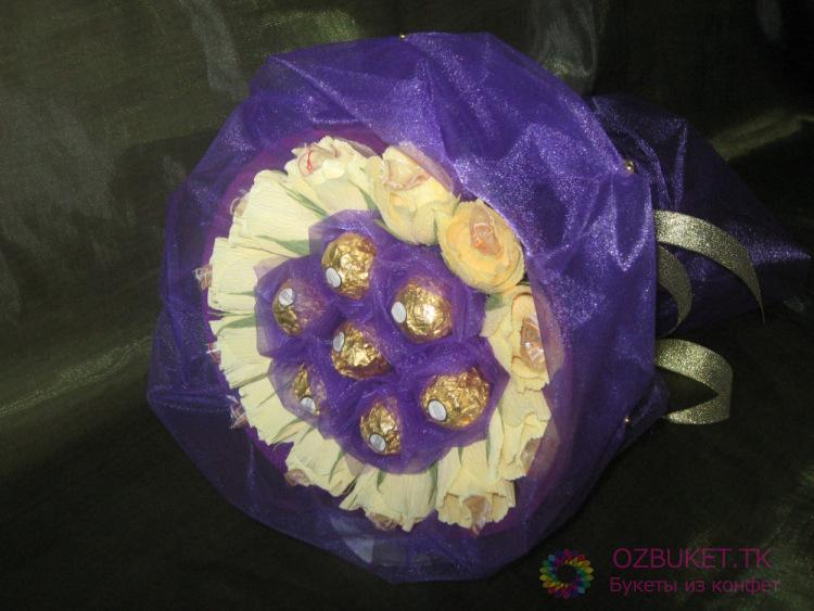 Букет из конфет с органзой своими руками