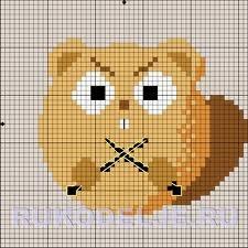 Хомяк с вязанием.  Простая схема вышивки крестом.  Опубликовано: 07 Апр 2010.