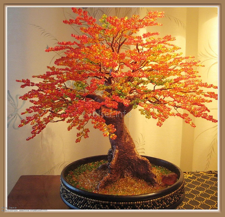 Петельное осеннее дерево из бисера Бисероплетение.