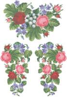 Просмотры: 2104.  Рисунок на ткани для вышивки блузки бисером или мулине.  Цветная схема нанесена на атлас.