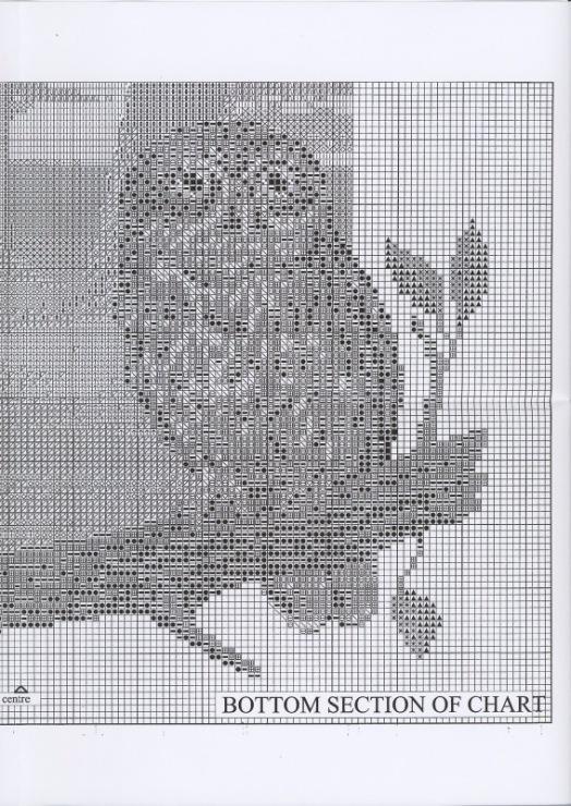 Вышивка крестом совы монохром 68