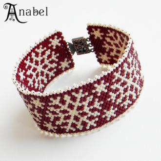 браслет новый год зимняя тематика подарок бисер Anabel.
